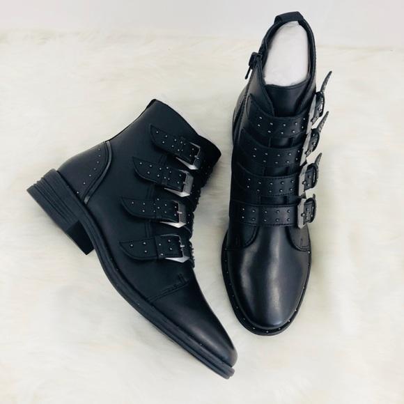 a3b3e1bb6de Steve Madden Pursue Studded Buckle Leather Boots